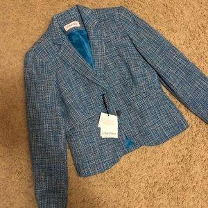 NWT Calvin Klein Light Blue Tweed Blazer 4